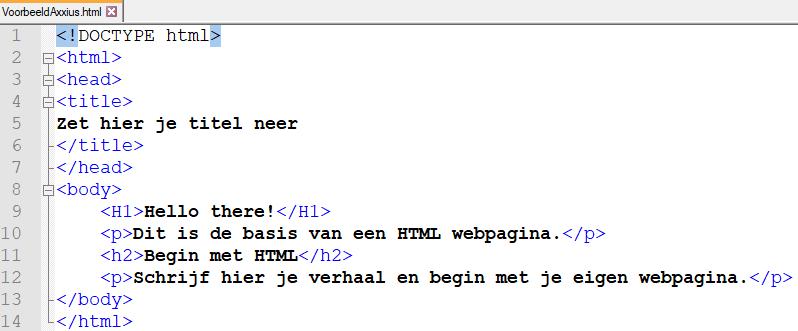 Voorbeeld van een HTML opmaak