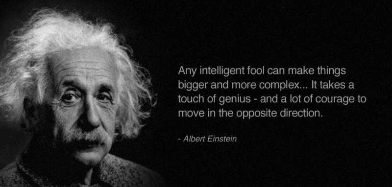 Een quote van Albert Einsteijn over eenvoud